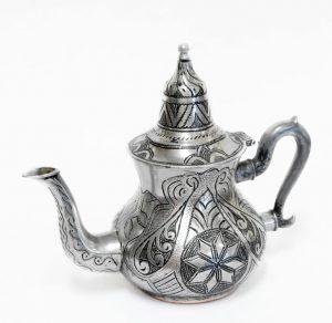 MAR13-CI03 - ceainic decorativ marocan din metal, 26x14x22cm