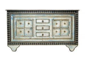 exotique - P-05 - comoda pictata, lemn masiv si insertii metalice, 153x41x90cm
